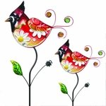 Glass Cardinal Flower Body Stakes (Set of 2)