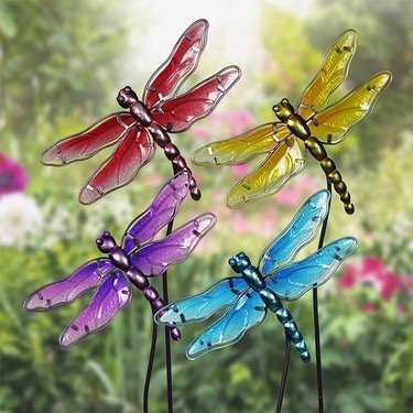 Glass Dragonfly Garden Stakes (Set of 4) - Click to enlarge