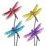Glass Dragonfly Garden Stakes (Set of 4)