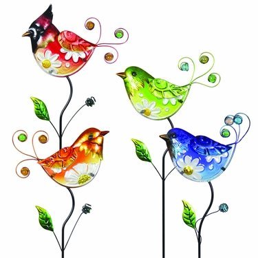 Glass Flower Body Bird Stakes (Set of 4) - Click to enlarge