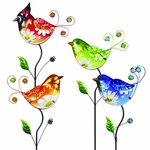 Glass Flower Body Bird Stakes (Set of 4)