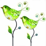 Glass Green Bird Flower Body Stakes (Set of 2)