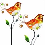 Glass Orange Bird Flower Body Stakes (Set of 2)