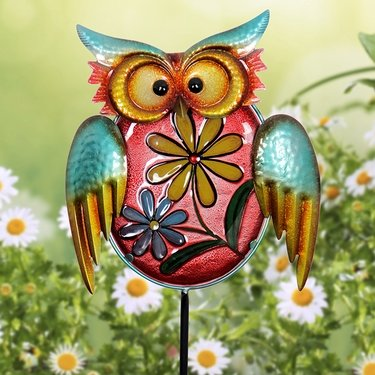 Metal & Glass Owl Garden Stake - Click to enlarge