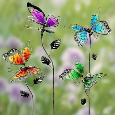 Glass WindyWings Butterfly Stakes (Set of 4) - Click to enlarge