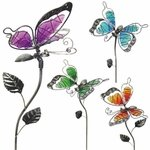 Glass WindyWings Butterfly Stakes (Set of 4)
