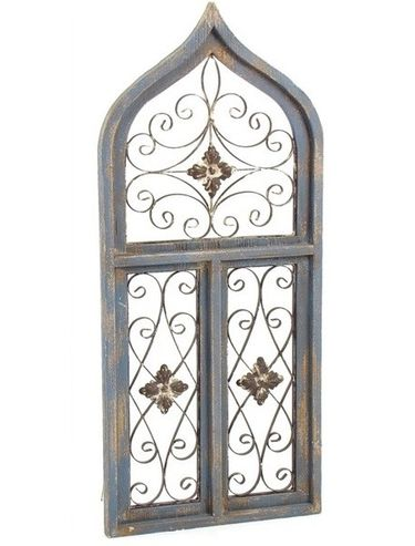 Gothic Wood & Iron Split Window Decor - Click to enlarge