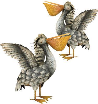 Gray Pelican Decor - Wings Up (Set of 2) - Click to enlarge