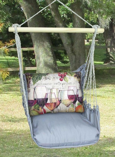 Gray Wine Line Hammock Chair Swing Set - Click to enlarge