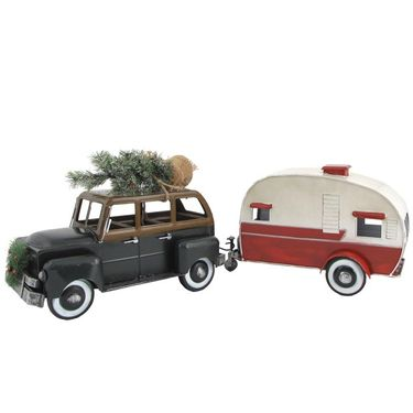Green Christmas Car w/Trailer Camper - Click to enlarge