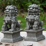 Grey Foo Dog Male & Female Statues (Set of 2)