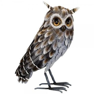 Standing Grey Horned Owl Statue - Click to enlarge