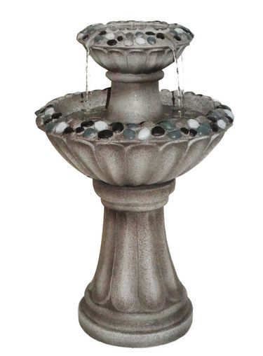 Grey Pebble Pedestal Fountain - Click to enlarge