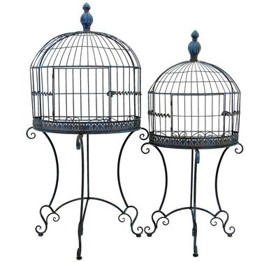 Wall Half Cage Plant Stands (Set of 2) - Antique Blue - Click to enlarge