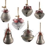 Giant Hanging Christmas Bells w/Red Ribbon & Rope (Set of 7)