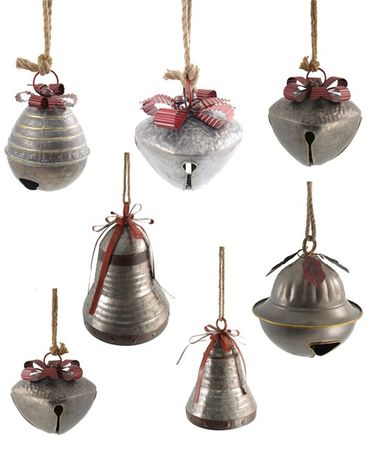 Giant Hanging Christmas Bells w/Red Ribbon & Rope (Set of 7) - Click to enlarge