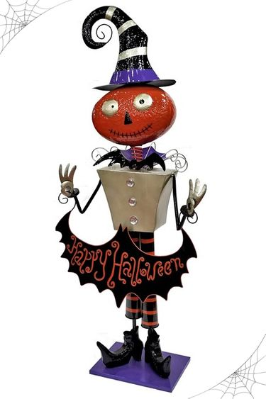 Happy Halloween Iron Pumpkin Decor - Click to enlarge