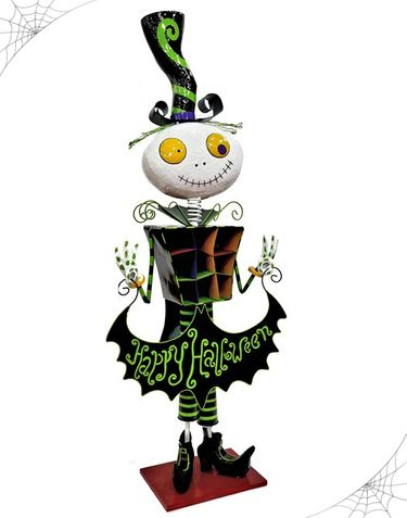 Happy Halloween Iron Skeleton Decor - Click to enlarge