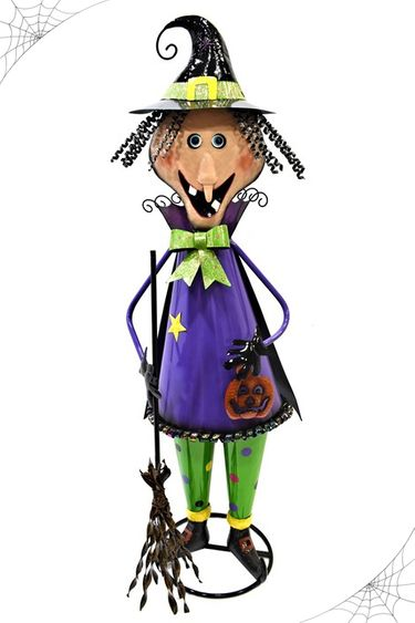 Happy Halloween Iron Witch Decor - Click to enlarge