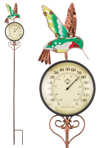 Hummingbird Thermometer Stake - Click to enlarge