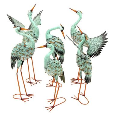 Assorted Iron Blue Cranes (Set of 6) - Click to enlarge