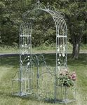 Iron Garden Gate Archway w/Plant Stands - Antique White