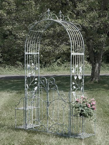 Iron Garden Gate Archway w/Plant Stands - Antique White - Click to enlarge