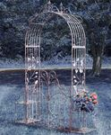 Iron Garden Gate Archway w/Plant Stands - Copper Brown