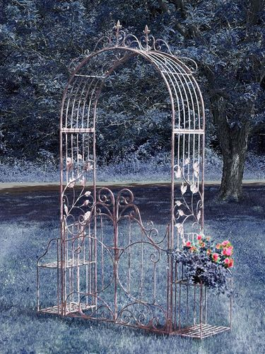 Iron Garden Gate Archway w/Plant Stands - Copper Brown - Click to enlarge
