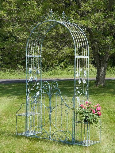 Iron Garden Gate Archway w/Plant Stands - Light Blue - Click to enlarge