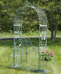 Iron Garden Gate Archway w/Plant Stands - Light Blue