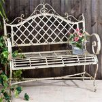 "Iron Garden ""Stephania"" Bench - Antique White"