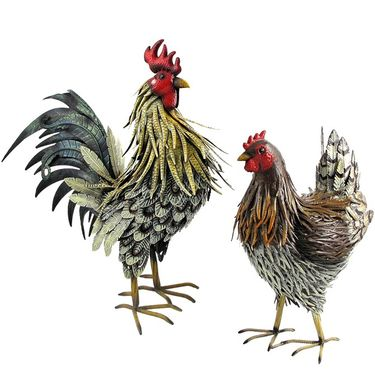 Iron Hen & Rooster Birds (Set of 2) - Click to enlarge