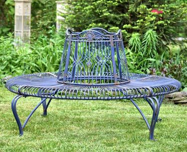 Iron Round Tree Bench - Cobalt Blue - Click to enlarge