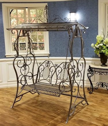 Iron Swing Bench - Blue/Bronze - Click to enlarge