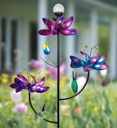 Kinetic Flower Spinner Stake w/Solar Crackle Ball - Click to enlarge