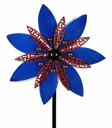 Kinetic Patiotic Red & Blue Flower  Stake - Click to enlarge