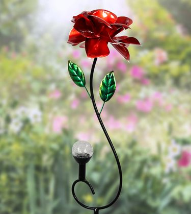 Kinetic Rose Stake w/Solar Crackle Ball - Click to enlarge