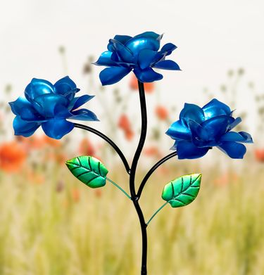 Kinetic Triple Rose Garden Stake - Blue - Click to enlarge