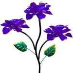 Kinetic Triple Rose Garden Stake - Purple