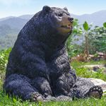 "Large Black Bear Sitting Statue ""Ultra-Realistic"""
