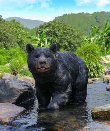 Large Black Bear Walking Statue