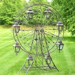 "Large Ferris Wheel ""Atlantic"" w/8 Hanging Lanterns - Antique Brown"