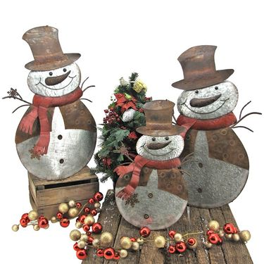 Large Flat Galvanized Snowmen (Set of 3) - Click to enlarge