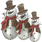Large Flat Galvanized Snowmen (Set of 3)