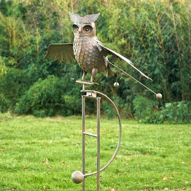 Large Flying Owl w/Moving Wings - Antique Bronze - Click to enlarge