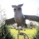 Large Flying Owl w/Moving Wings - Antique Rust