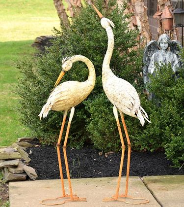 Large Rustic Heron Birds (Set of 2) - Click to enlarge