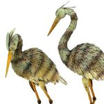 Large Iron Blue Heron Birds (Set of 2)