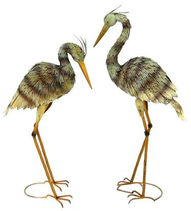 Large Iron Blue Heron Birds (Set of 2) - Click to enlarge